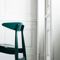 Carl Hansen and Son Wegner CH33 Dining Chair Green Lacquer Back Detail