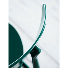 Carl Hansen and Son Wegner CH33 Dining Chair Green Lacquer Cured Backrest Detail