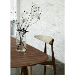 Wegner CH33 Chair Oak with Black Leather Seat in Scandinavian Dining Room Carl Hansen & Son
