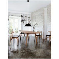 Wegner CH33 Chairs Oak with Black Leather Seats in Dining Room Carl Hansen & Son