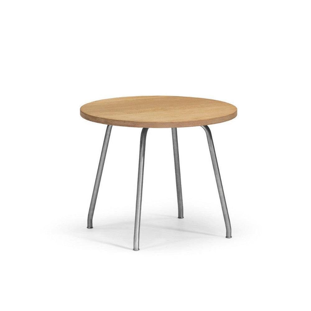 Wegner Side Table Oak and Stainless Steel Carl Hansen & Son