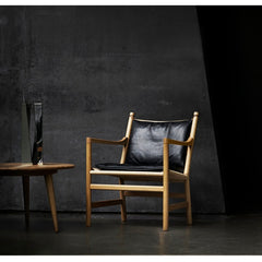 Hans Wegner CH44 Chair Oak Black Leather Cushion in Situ Carl Hansen and Son