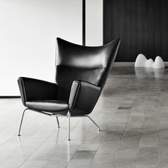 Hans Wegner CH445 Black Leather In Room Carl Hansen and Son
