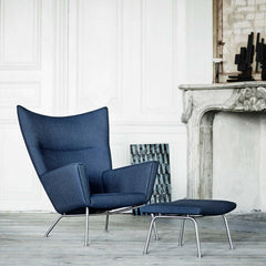 Wegner Wing Chair CH445 in room with CH446 Ottoman Carl Hansen & Søn