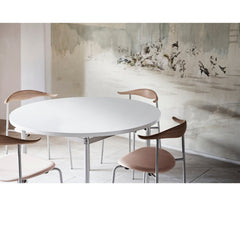 Hans Wegner CH88 Chairs light oak in room with mural Carl Hansen and Son
