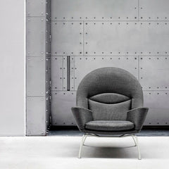 Hans Wegner Oculus Chair CH468 Grey Wool Artistic Industrial Carl Hansen & Son