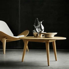 Hans Wegner Coffee Table CH008 Oak in Room with Shell Chair Carl Hansen & Son
