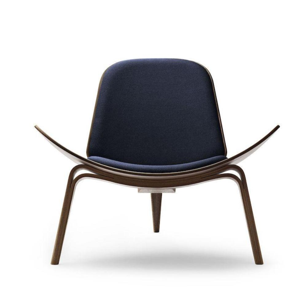 Wegner Shell Chair CH07 Walnut with Canvas 994 Carl Hansen and Son