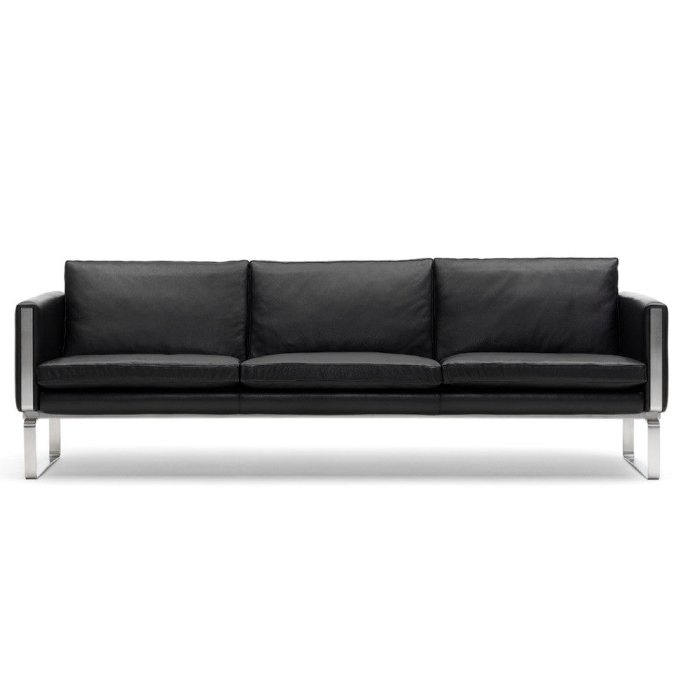 Hans Wegner CH103 Sofa Black Leather Front Carl Hansen & Son