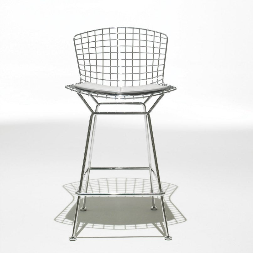 Harry Bertoia Barstool Chrome White Cushion Front Knoll