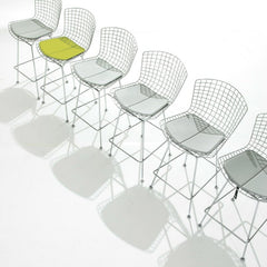Harry Bertoia Barstools Chrome Green Grey Cushions Knoll