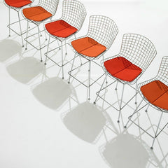 Harry Bertoia Barstools Chrome Red Orange Cushions Knoll