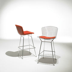 Harry Bertoia Barstools Chrome Red Cushions Knoll