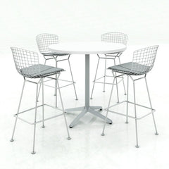 Harry Bertoia Barstools Chrome Cafe Table Silver Cushions Knoll
