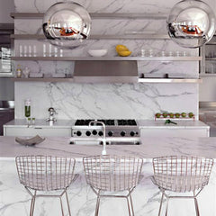 Harry Bertoia Counterstools Chrome Carrara Marble Kitchen Knoll