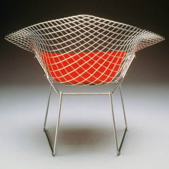 Harry Bertoia Diamond Chair Chrome Red Cushion Back Knoll