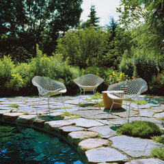 Bertoia Diamond Chairs in White Rislan Outdoor Finish with Maya Lin Stone by Pool Knoll