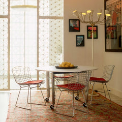 Harry Bertoia Side Chairs Orange Cushions D'Urso Table Knoll