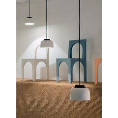 HeadHat Ceramic LED Pendant Lamps with Chairs by Santa & Cole