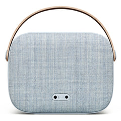 Backside of the Helsinki Wireless Soundspeaker in Misty Blue Kvadrat fabric from Vifa