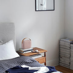 Vifa Helsinki Soundspeaker in Dusty Rose Kvadrat Fabric on Bedside Table