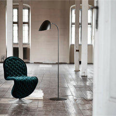 Black Matte Hitchcock Floor Lamp from Frandsen Lighting with Verner Panton Dining Chair