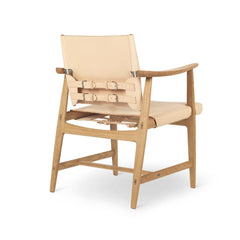 Borge Mogensen Huntsman Chair Natural Leather and Oak Back Carl Hansen & Son