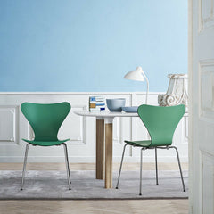 Analog Table by Jaime Hayon with Tal R Series 7 Chairs in Huzun Green Fritz Hansen