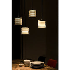Ilmari Tapiovaara Maija Suspension Lamps over Dinner Plates by Santa & Cole