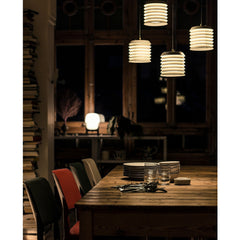 Ilmari Tapiovaara Maija Suspension Lamps over Dinner Table by Santa & Cole