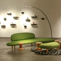 Isamu Noguchi Freeform Sofa and Ottoman Green in Room Vitra