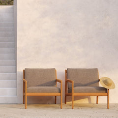 Jack Teak Outdoor Lounge Chairs with Mocha Cushions by Ethnicraft