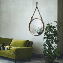 GUBI Adnet Circulaire Mirror in Tan Leather in Room