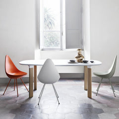 Jaime Hayon Analog Table White with Oak Legs with Arne Jacobsen Drop Chairs
