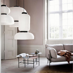 And Tradition Formakami Pendant Lights by Jaime Hayon Styled in Room with Palette Coffee Table and Luca Nichetto Cloud Sofa