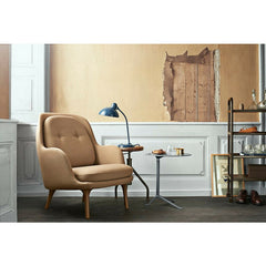 Jaime Hayon Fri Chair Sand Brown with Kaiser Idell Tilt Table Lamp and Kasper Salto Little Friend Fritz Hansen