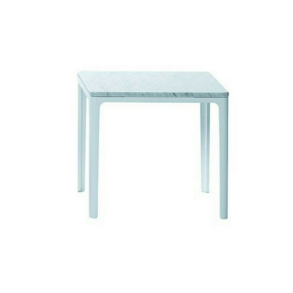 "Jasper Morrison 15"" x 15"" Plate Table with Carrara Marble Top and White Base from Vitra"