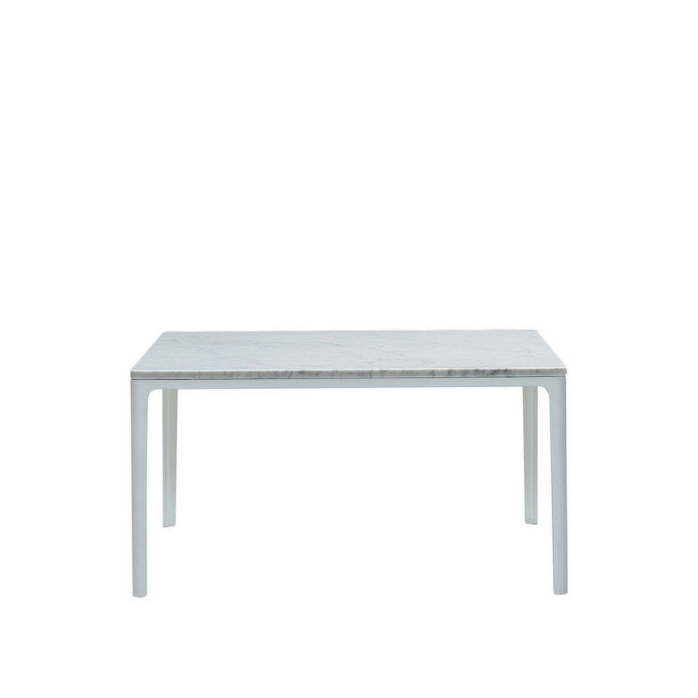 "27"" square Plate Table with Carrara Marble Top and White Base by Jasper Morrison for Vitra"