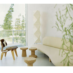 Jasper Morrison Cork Stools in Room with Noguchi Freeform Sofa and Eames Chair Vitra