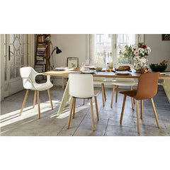 Jasper Morrison HAL Wood Armchair White with Natural Oak Legs at EM Table with Hal Wood Chair and Hal Leather Chair Vitra