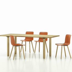 Jasper Morrison HAL Wood Chair Orange Seat Natural Oak Base With Table Vitra