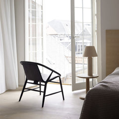 "13""Ø Diameter Oak Soap Pon Coffee Table with Eve Chair by Fredericia"