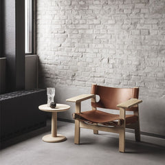 "Jasper Morrison 15"" Oak Soaped Pon Side Table with the Børge Mogensen Spanish Chair for Fredericia"