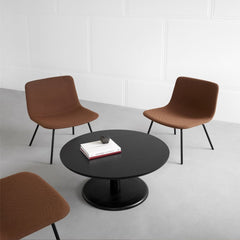 "35"" Diameter Black Lacquered Oak Pon Coffee Table by Jasper Morrison with Spin Chairs for Fredericia"
