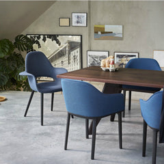 Jean Prouve EM Table Smoked Oak Top Softsell and Eames Chairs Conference Vitra