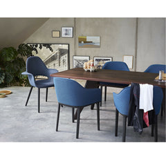 Blue Softshell Chairs in Room with EM Table Bouroullec for Vitra