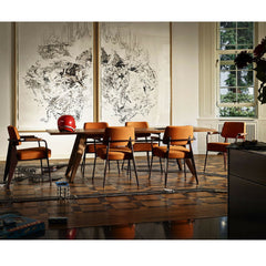 Jean Prouve Table Solvay with Fauteuil Chairs Vitra