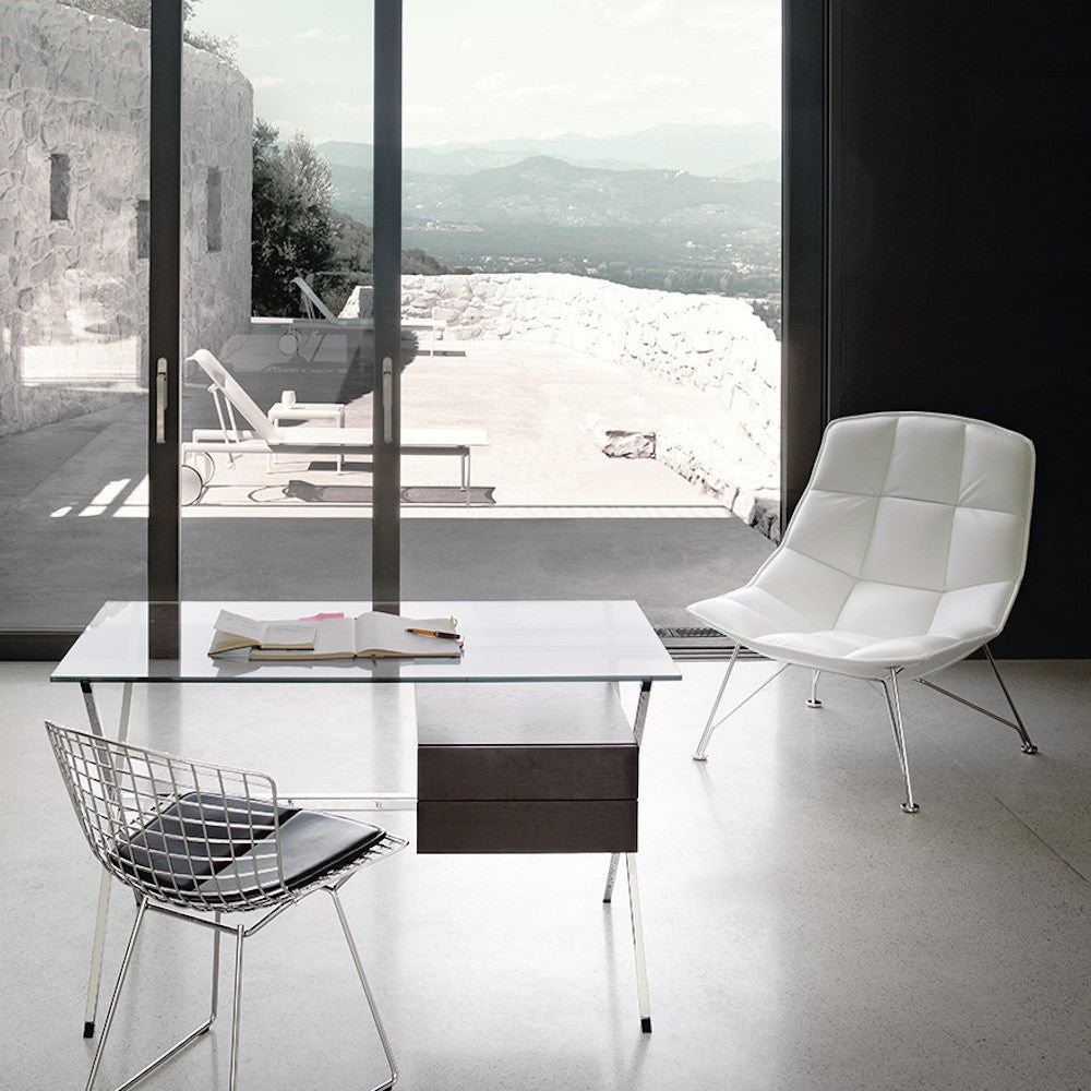 Jehs + Laub Lounge Chair In White Leather With Bertoia Side Chair Albini  Desk And Richard