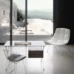 Jehs + Laub Lounge Chair in White Leather with Bertoia Side Chair Albini Desk and Richard Schultz Chaise Lounge for Knoll