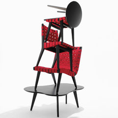 Jens Risom Collection Red Ebonized Stacked Knoll